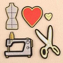 Cool Machine à coudre tailleur ciseaux patchs brodés fer sur coeur rouge Badges vêtements coupe Appliques pour vêtements manteaux