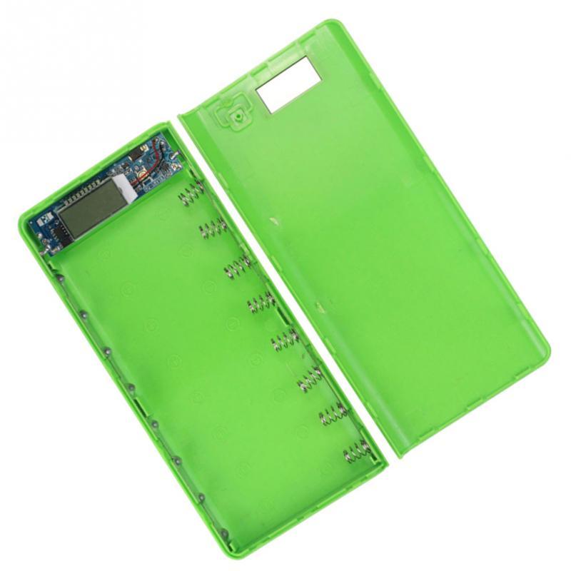 Cargador de cubierta de luz móvil DIY Power Bank plástico carga Dual USB pantalla LCD