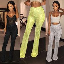 Fashion Hot Women High Waist Fil-Lumiere Bell Bottom Long Pants Drawstring SlimTrousers Ladies Pants Casual