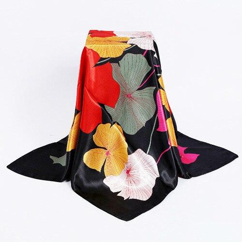 Новый дизайн женские элегантные шелковые шарфы 90*90 см квадратные атласные шарфы для женский платок на голову для волос Шелковый шарф для волос для сна