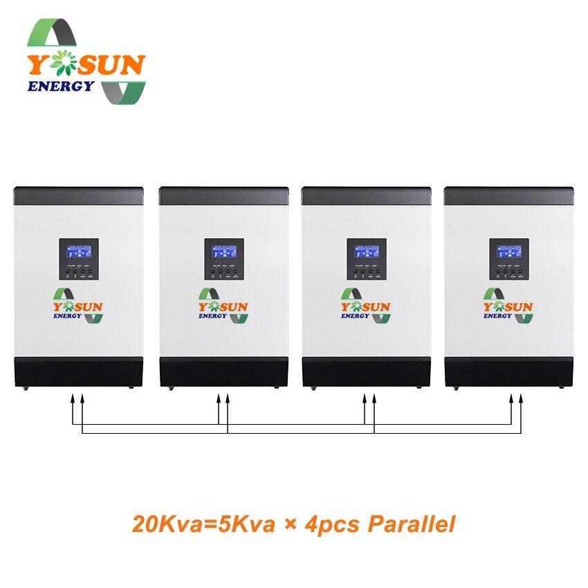 MPPT الشمسية العاكس 5K 10k 15K 60A 16000W نقي شرط موجة العاكس 48V 220V خارج الشبكة العاكس الهجين العاكس 60A بطارية شاحن