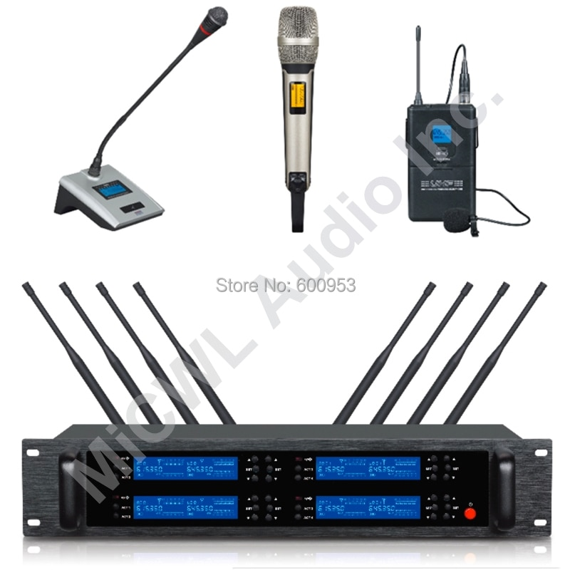 Sistema de Microfone sem Fio Clássico Handheld Lapela Desktop Fase Conferência Karaoke Uhf Ajustável Edição Limitada Skm9000 8