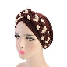 Style bohème femmes Turban chapeau mode tresse noeud dame tête écharpe Hijab musulman intérieur Hijab pour femmes cheveux accessoires perte de cheveux