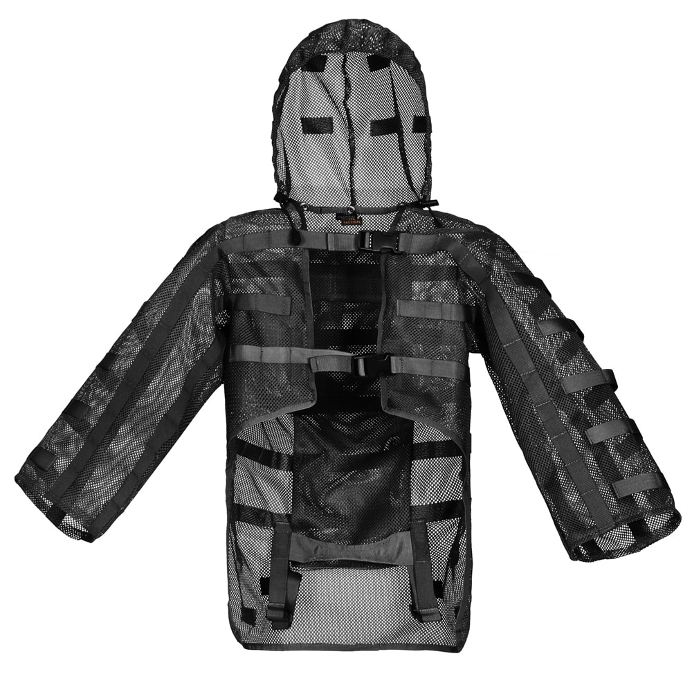 Ropa Ghillie táctica para caza al aire libre CS campo puede poner 3 l bolsa de agua desmontable con capucha malla transpirable capa de francotirador de Nylon