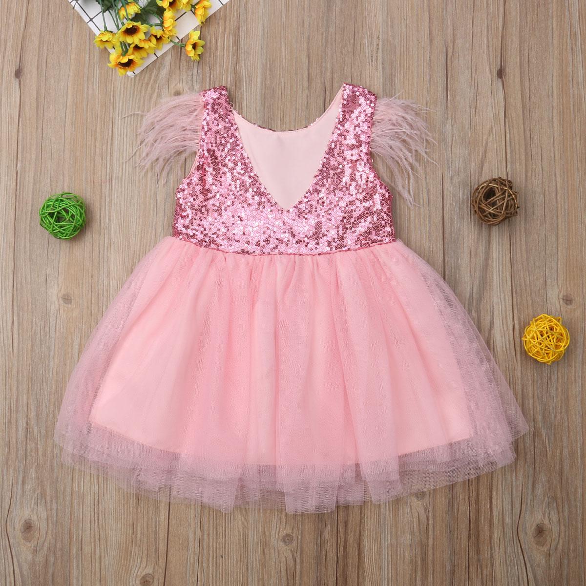 Рождественское детское красное платье для девочек, платье-пачка с блестками для маленьких девочек, платье с рукавами с перьями для девочек на вечеринку, свадьбу, день рождения