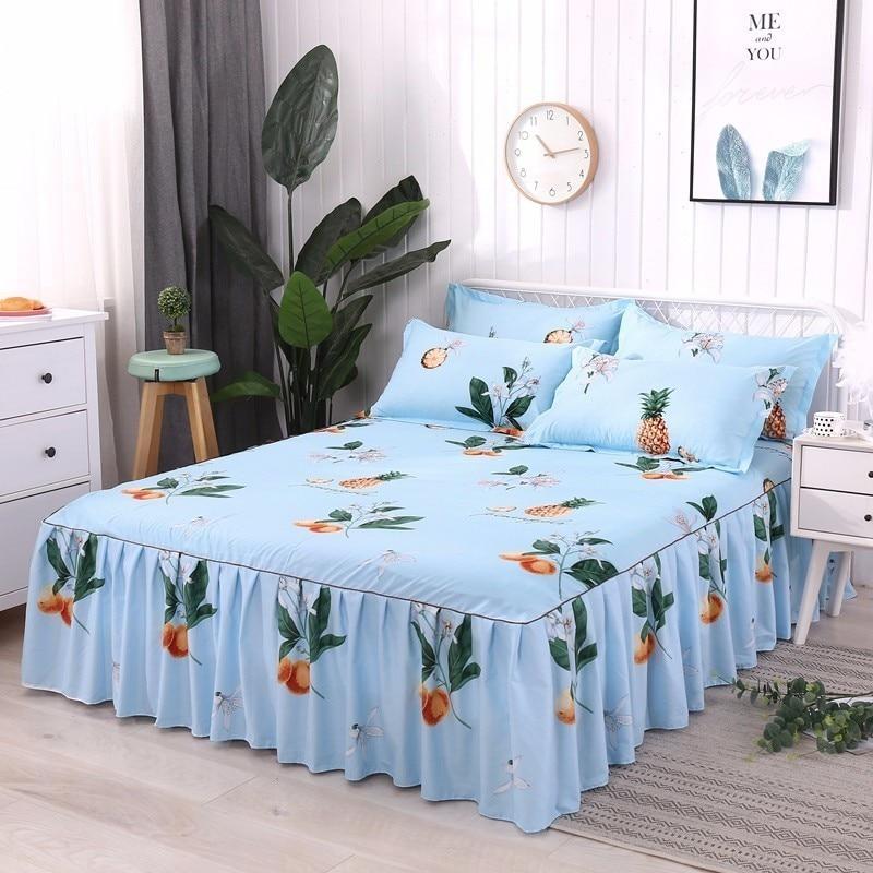Textiles para el hogar, colcha antideslizante de Cactus y plantas, cama, falda doble/completa/queen/king Size 3 uds., ropa de cama estampada, funda de almohada