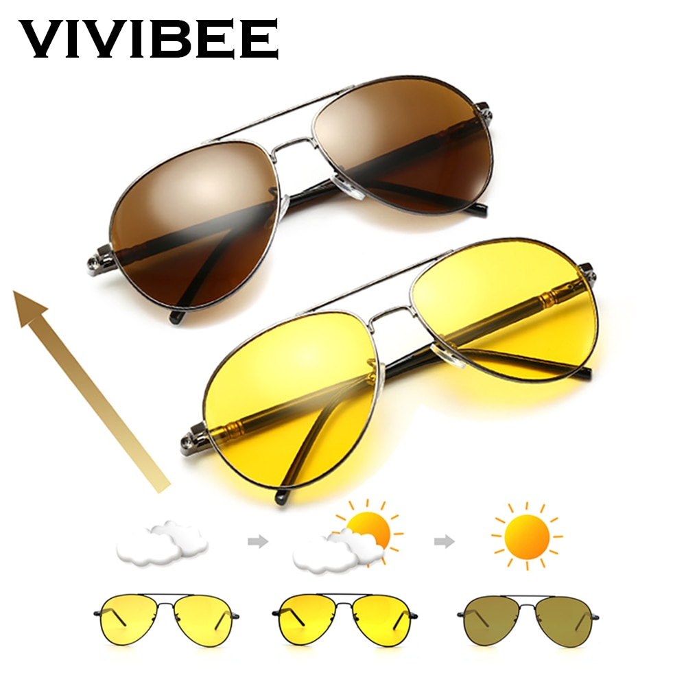 VIVIBEE Men Photochromic Night Vision Polarizing Sun Glasses Pilot Style Aluminum Women Polarized Driving Sunglasses Yellow