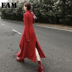 Женское платье с воротником-стойкой EAM, черное платье с длинным рукавом и асимметричным поясом, JL868, весна 2020