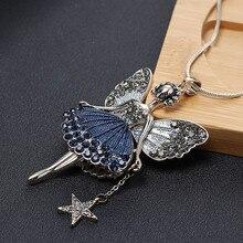 De dibujos animados de Ángel colgante collar de estrella de las señoras de las mujeres de invierno collar largo collar Cadena de Jersey pequeña princesa Decoración