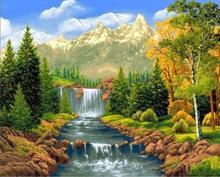 Peinture de diamant de paysage   Peinture diamant rond 5d plein de diamant carré, peinture en diamant sur paysage de rivière et de montagne