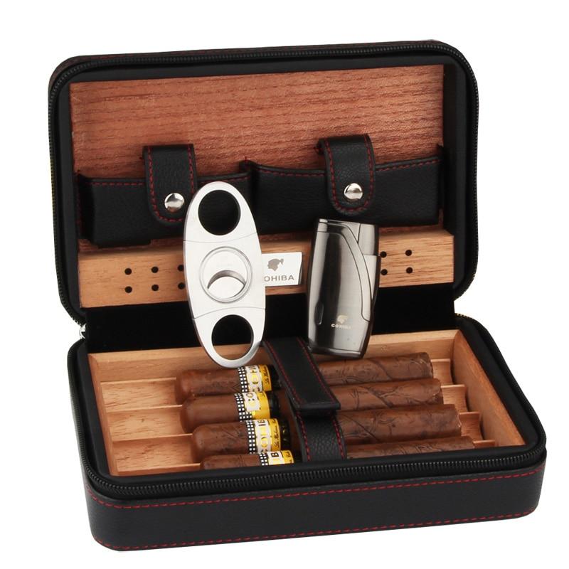 Cohiba Портативный кожаный чехол для сигары для путешествий из кедрового дерева Linied Humidor с Фонарь Jet Flame сигары Зажигалки резак набор с увлажнит...