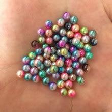 300PCS 5mm MIX Gradually Discoloration ABS Pearl Wedding No Hole Bead DIY Crafts F390*2