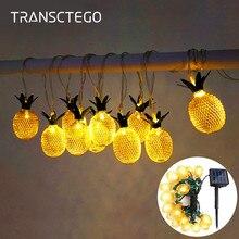 Lampe à cordon solaire ananas, lampe à suspension solaire étanche pour la décoration de jardin en plein air de noël
