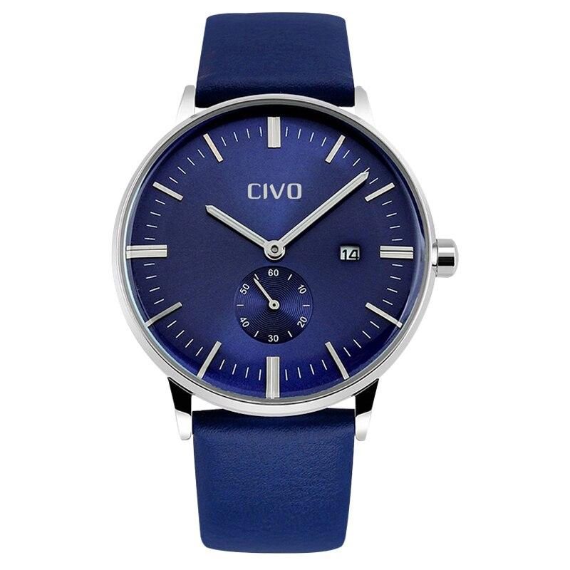 Marca de Luxo Analógico de Quartzo de Couro Relógio de Pulso para Homens de Negócios à Prova Civo Homens Relógios Genuíno d' Água Relógio Reloj Hombre Top