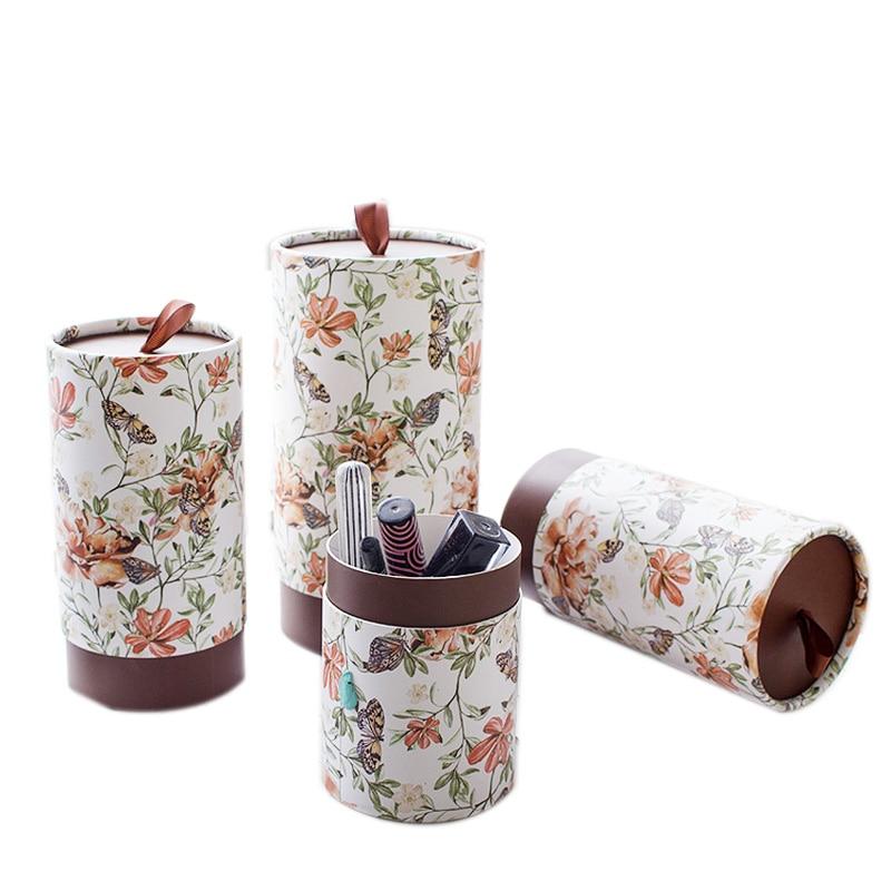 Tubo de papel de embalaje Xin Jia Yi, de forma redonda cartulina blanca, cajas de papel para regalo de boda, cajas de papel de flores con mango