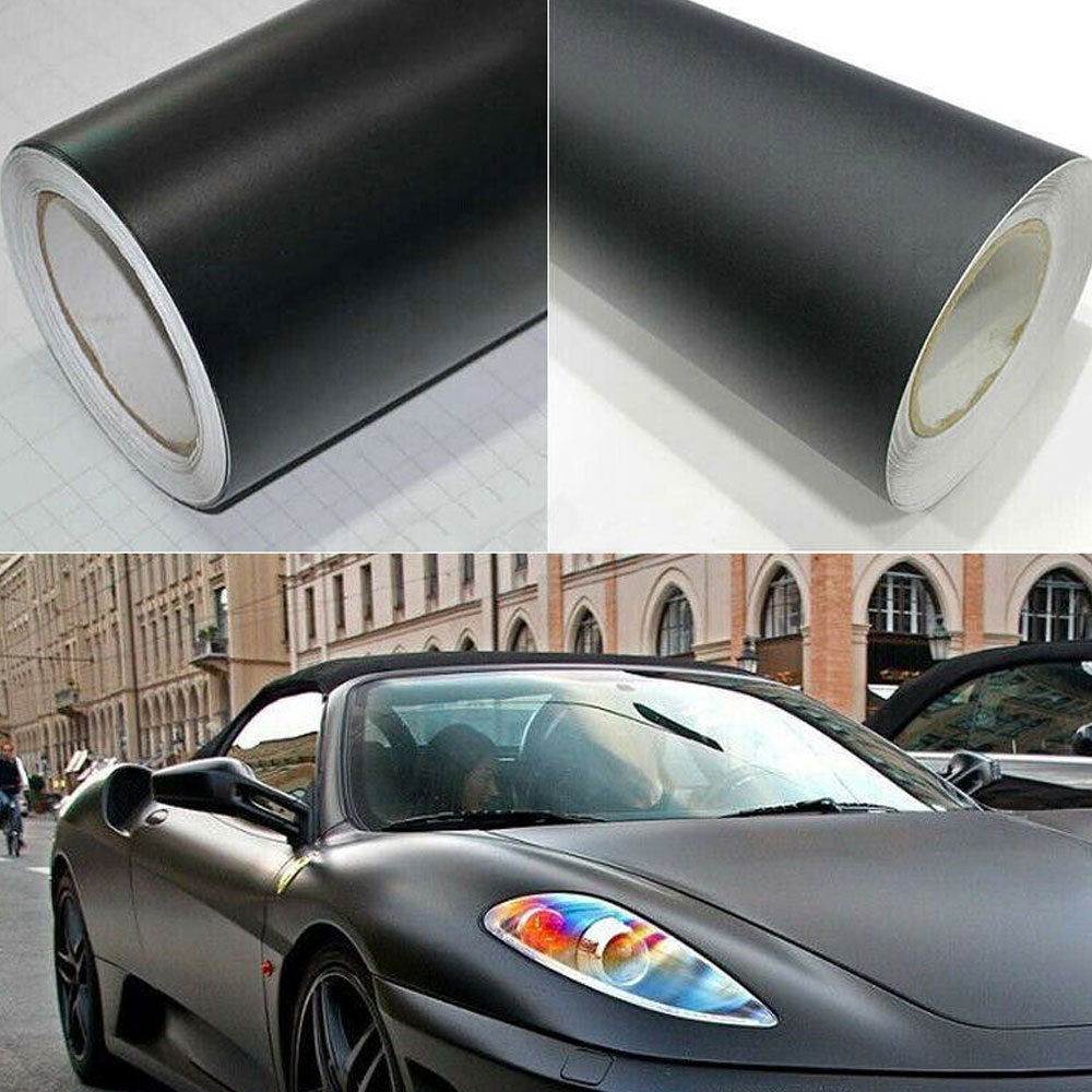 Película de vinilo negro mate de 50*152 cm, pegatina DIY para coche, etiqueta del vehículo, 3D burbuja, película mate de Color negro