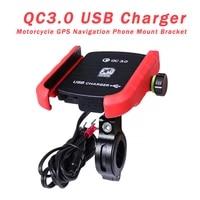 motorcycle phone gps holder mount bracket aluminum with qc3 0 usb charger for 3 5 6 5inch