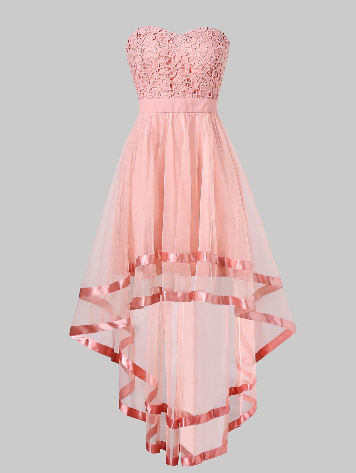 Vestido de fiesta de chifón alto bajo color rosa de Wipalo, vestidos de verano para mujer, vestido sin tirantes, sin mangas, Parte delantera corta, espalda larga, vestidos de fiesta