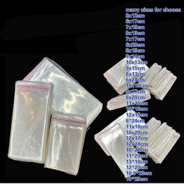 500 unids/lote 8cm ~ 13cm ~ 24cm bolsa adhesiva transparente OPP bolsa de la caja del teléfono móvil bolsa de plástico sello de la joyería bolsa de tira de bolsillo WxL