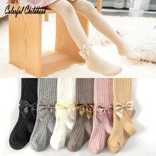 Autumn New Style Girls Pure Cotton Bowknot Strip-type Stocking Newborn Princess Fashion Pantyhose Childrens Leggings  1-8yrs