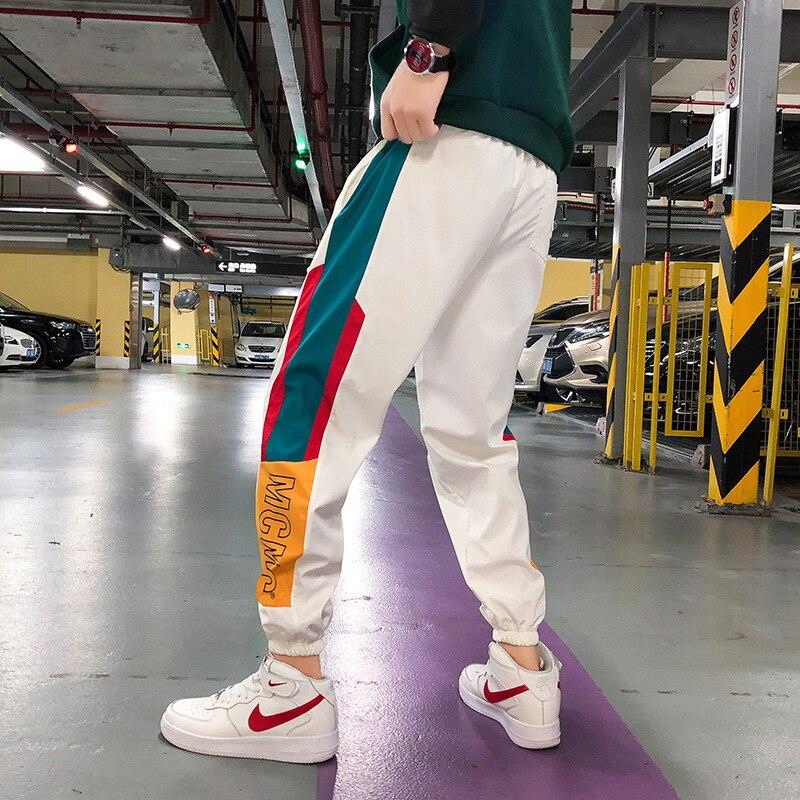 #2318 Spring Summer Black White Hip Hop Pants Men Patchwork Colord Striped Harajuku Harem Calf-length Trousers Joggers M-XXXXXL