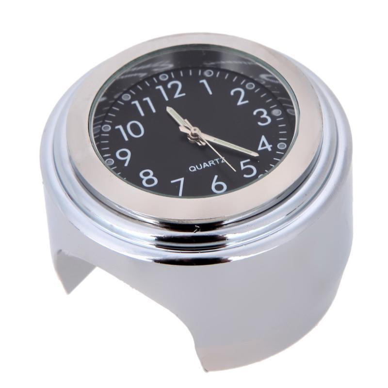"""Universal 7/8 """"Sliver Chrome Motocicleta Guiador Montar Relógio de Quartzo Relógio À Prova D Água Relógio Luminoso Preto Acessórios de Alumínio"""