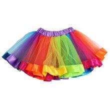Kids Lovely Colorful Tutu Skirt Girls Rainbow Tulle Tutu Mini Skirts Girls Colorful Stitching Skirt