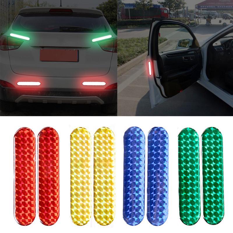 2 uds pegatina reflectante para puerta de coche cinta de advertencia tiras reflectantes epoxi + PET rojo amarillo azul verde