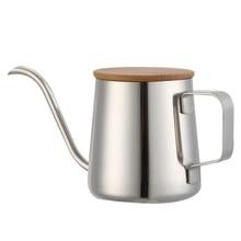 Bouilloire à col de cygne acier inoxydable   Long, Pot de café à bec étroit de 350Ml bouilloire à main en acier inoxydable, tasse à café et à thé en bois