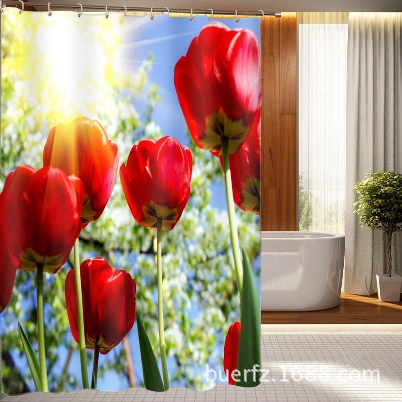 Impresión 3D del Sol de tulipanes rojos Cortina de ducha cortinas de flores para baño cortinas de ducha únicas