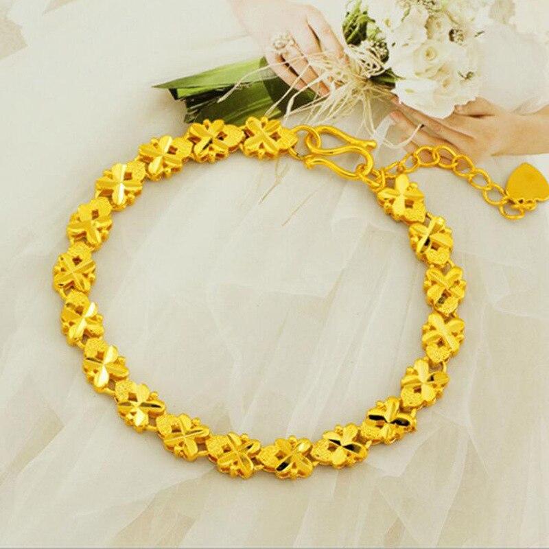 Vietnã alluvial ouro feminino pulseiras folhas criativas contas pulseiras jóias