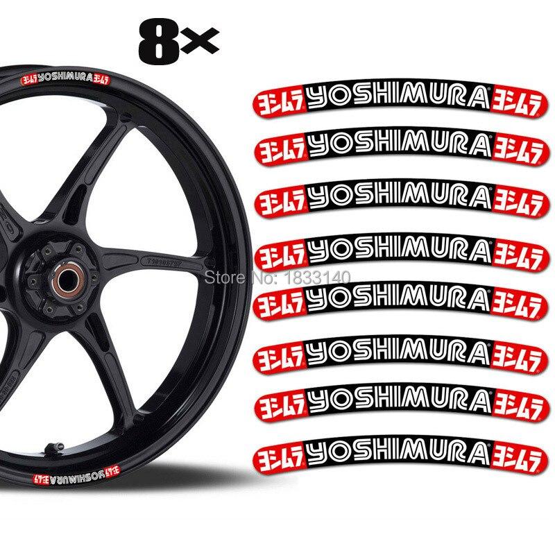 "NEW Design 3D Gel Motorcycle Sticker Car Sticker 8 YOSHIMURA For 17""18""21""inch Wheel Eposy Rim Sticker"