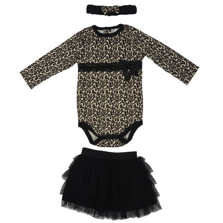 Baby girls 3pcs sets:long sleeved rompers + tutu skirt dress+headband(hat) Autumn girls leopard kids clothing sets