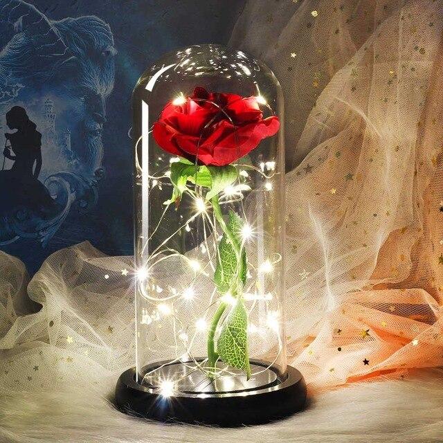 Горячая Распродажа, LED золото, розовое стекло, купол, красавица, чудовище, красная роза, украшение, цветок, венок, подарок на день Святого Вале...
