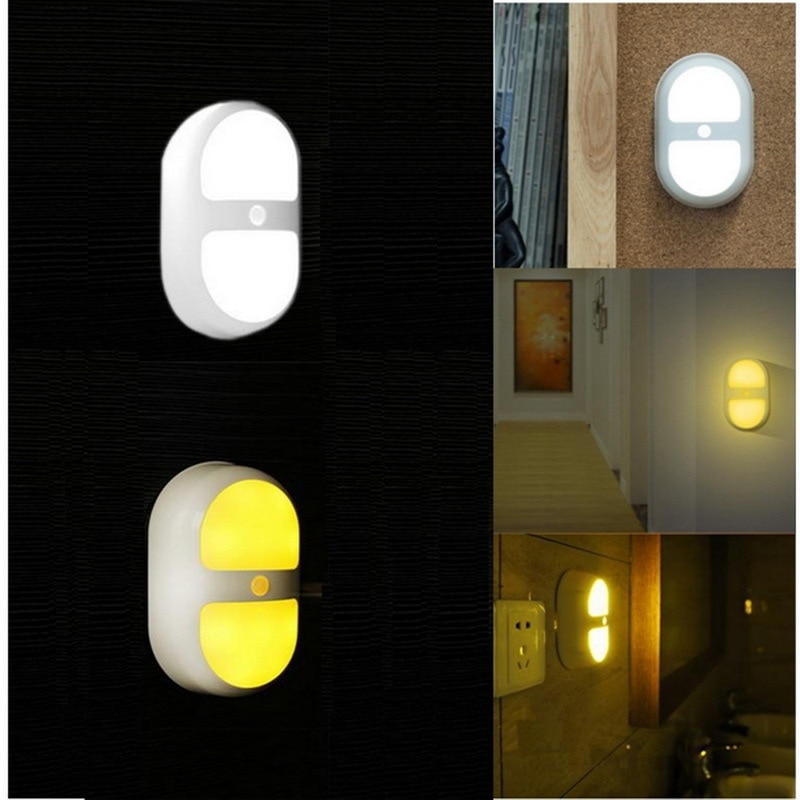 Led Night Light Human Motion Induction Sensor Control Lamp Battery For Bedroom Bathroom Yellow /white Color
