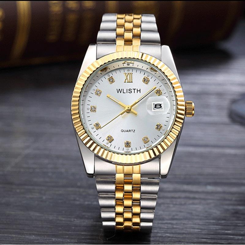 2018 WLISTH lujo oro reloj señora hombres amante de acero inoxidable cuarzo impermeable masculino relojes de pulsera para hombres analógica fecha automática clcok