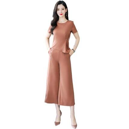 واسعة أرجل السراويل دعوى الصيف البنطال القصير قميص و واسعة أرجل السراويل دعوى اثنين من قطعة الملابس مجموعة vestidos حزام يا الرقبة كوريا الأزياء