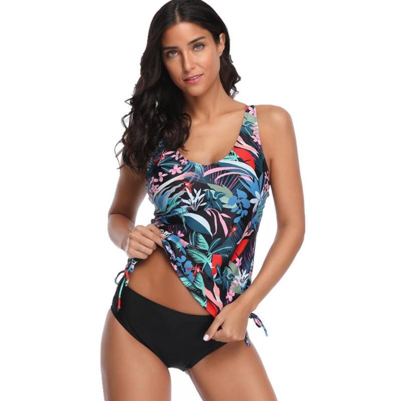 2 uds. Conjunto de Bikini con estampado de hojas, traje de baño ajustado para mujer, traje de baño Tankini Simple Floral para mujer, ropa de playa de verano para mujer
