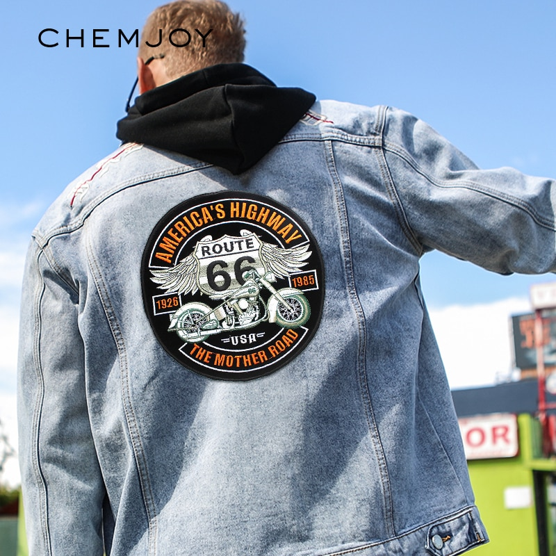 Parche bordado de motocicleta parches grandes de hierro para ropa con motivo de chaqueta con apliques mochila para coser ropa pegatina de motorista insignia de letras