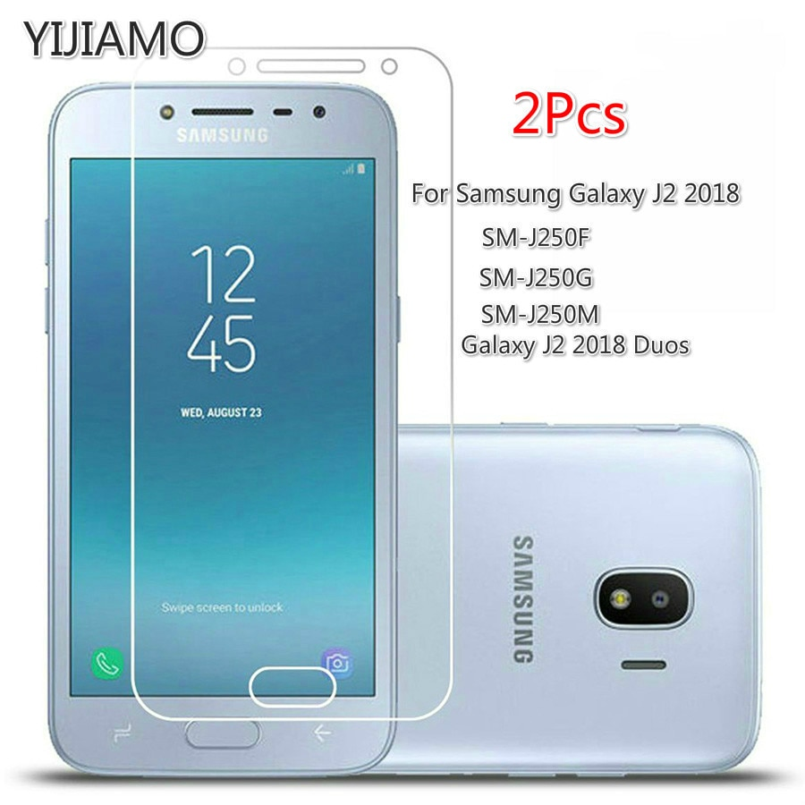 2Pcs 9H 2.5D Protective Film For Samsung Galaxy J2 2018 Tempered Glass For Samsung J2 Pro 2018 Scree