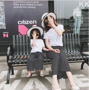 Pantalones a juego para mamá e hija, pantalones de pierna ancha con estampado de puntos coreanos para madre e hija, atuendos familiares a la moda para primavera y verano