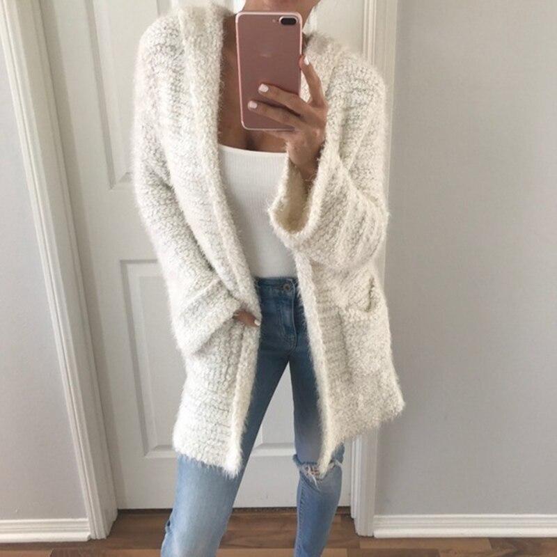 Sólido largo Cardigan mujeres con capucha Otoño Invierno suéter femenino Casual Cardigans manga larga prendas de vestir