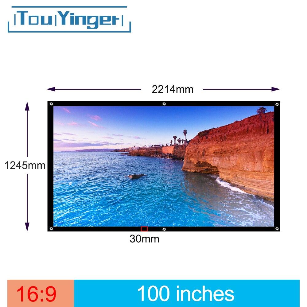 Уличный простой портативный экран Touyinger, 100 дюймов, 16:9, для путешествий, передний и задний проекционный экран, ночной супер тонкий проекционный экран