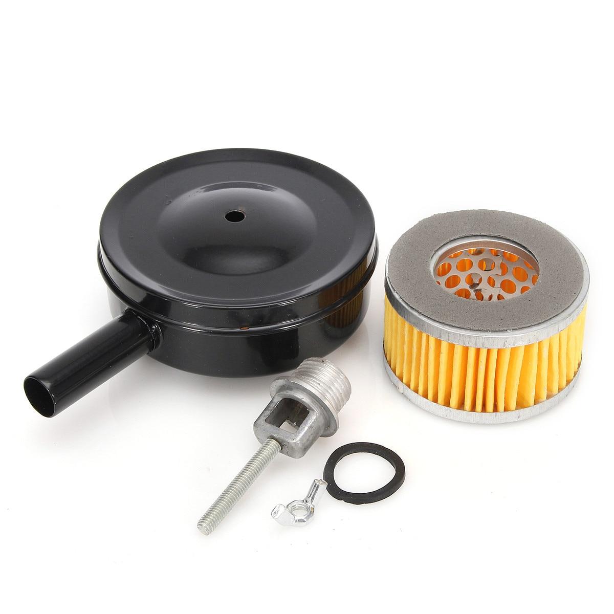 Preto 4 Polegada 10 cm Dia Compressor de Ar Filtro de Entrada de MPT1/2 w/Cartucho de Papel De Metal Silenciador