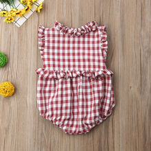 Pudcoco Baby Girl Jumpsuits 0-18M Newborn Baby Girl Ruffle Plaid Sleeveless Bodysuit Sunsuit Outfit