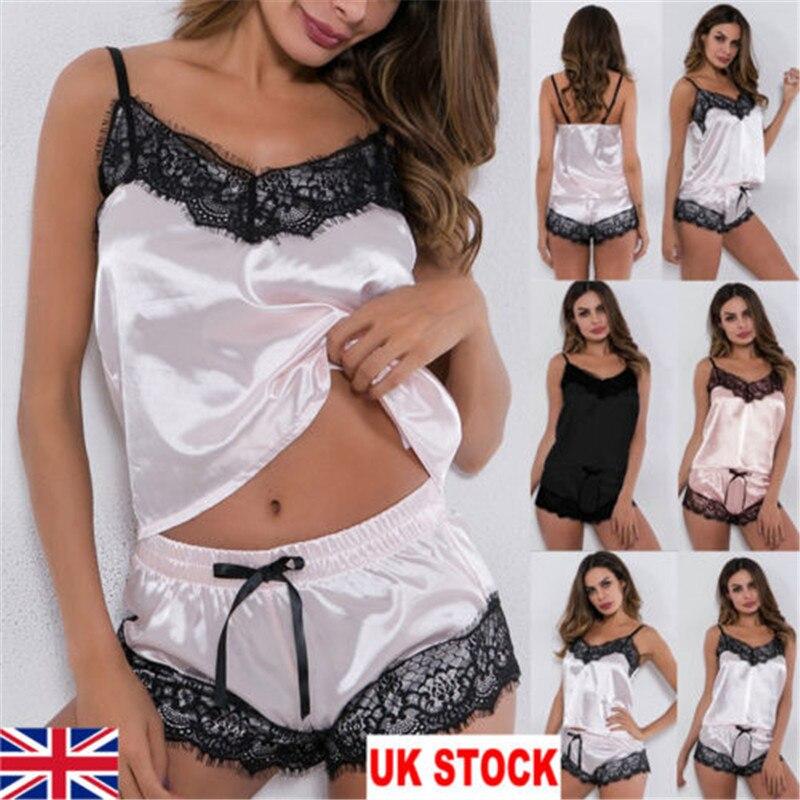 Женское нижнее белье, 2 шт., сексуальное сатиновое нижнее белье, ночная рубашка с ремешком, однотонный кружевной комплект