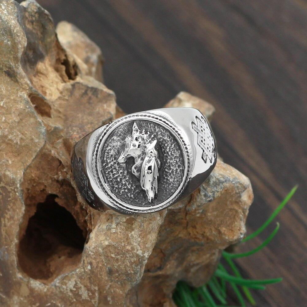 Hombre 316L Acero inoxidable nórdico vikingo odins wolf and raven vantage anillo joyería