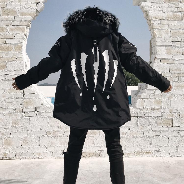 Gola de pele com capuz casaco de Hip hop coçar Street wear Moda adicionar lã engrossar roupas de algodão jaqueta parka casacos Das Mulheres Dos Homens