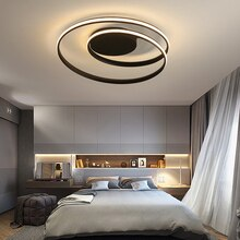 Omicron 크리 에이 티브 따뜻한 라운드 Led 샹들리에 알루미늄 흑백 Led 램프 거실 홈 호텔 장식 조명