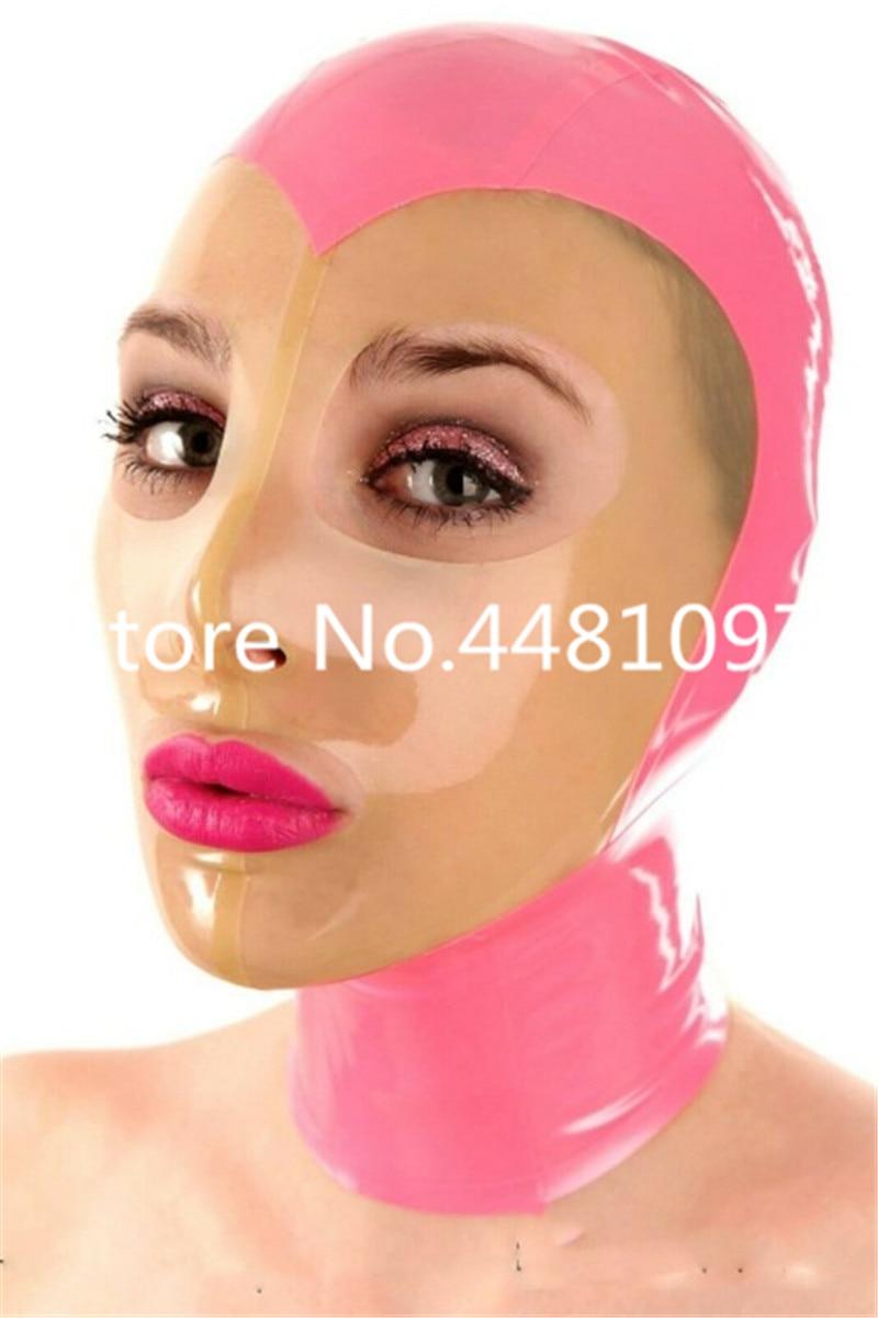 Máscara de látex de cabeza completa de color rosa Sexy capucha de goma unisex fetiche cosplay mascarilla orejas de conejo sexy máscara de michael myers personalizada hecho